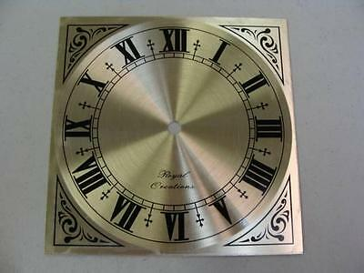 """NEW GOLD TRIM Roman Numeral Clock Dial Face by Royal Creations 7"""" square"""