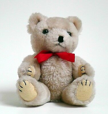 Lovely little vintage chiltern teddy bear with red ribbon
