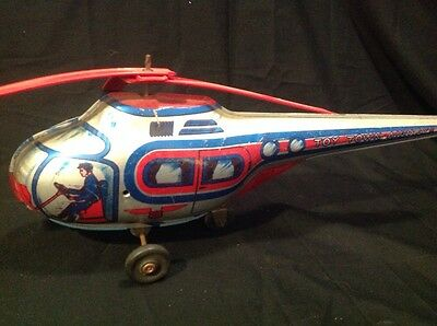 RARE Vintage J. CHEIN & CO. Toy Town Airways WIND UP Friction Tin Toy HELICOPTER