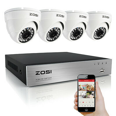 ZOSI 8CH Channel DVR 800TVL Outdoor Vandalproof Dome IR CCTV Video Home Security