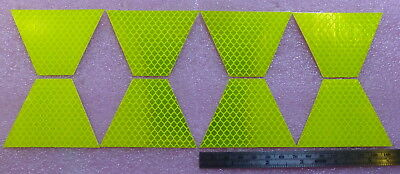 Set 8 Lime-Yellow 3M Scotchlite 1.75 reflective fire helmet tetrahedron stickers