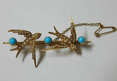 9ct Gold Bar Brooch Set With Natural Turquoise, Rubies & Seed Pearls VINTAGE!