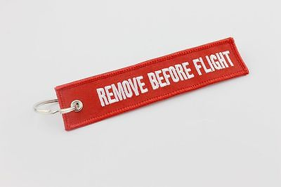 Red Embroidered Remove Before Flight Keychain Keyring Luggage Tag