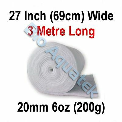 3 Metre / 3m Dacron Aquarium Pond Filter Media Floss Wool Wadding - 20mm / 6oz