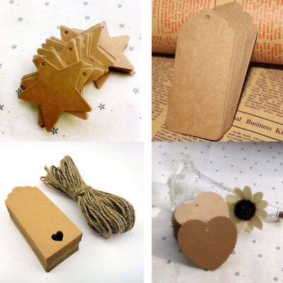 100pcs Kraft Paper Gift Tags Wedding Xmas Scallop Label Blank Luggage+Strings