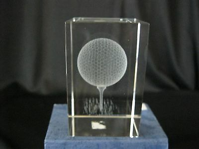 Crystal Golf Ball in Cube Paperweight