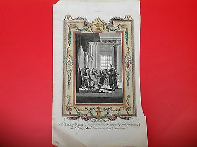 ANTIQUE  ENGRAVING  PRINT c1800S  THE BILL OF RIGHTS REVOLUTION KING WILLIAM