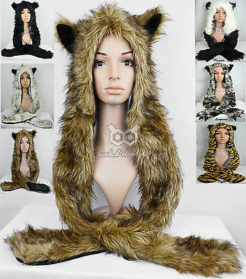 Faux Fur Animal Ears Hat Gloves Mittens Scarf Snood Hood Paws Halloween Costume