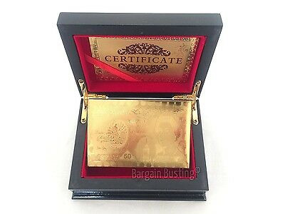 24K Gold Plated Cards UK Edition £50 Pound Full Poker Deck 99.9% Pure with Box