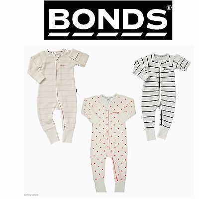 Bonds Baby Cotton Wondersuit Zip Jumpsuit Pink White Pyjamas 0000 000 00 0 1 2