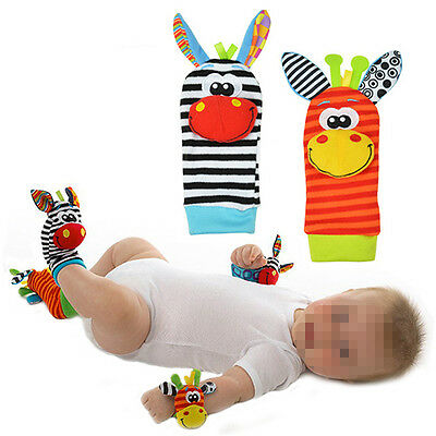 New Adorable  Infant Baby Kid Foot Socks Rattles Glove Toys Developmental 1 Pair