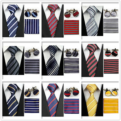 Men's Black Gray Yellow Navy Red Neckties Tie &Hanky Cufflinks Handkerchief Set