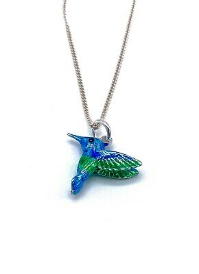 """925 Sterling Silver Blue Hummingbird  Pendant on 16, 18 or 20"""" Silver Curb Chain"""