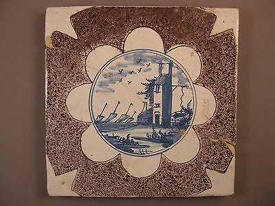 Antique Dutch Delft landscape tile manganese 17th century -- free shipping