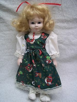 "Pretty 12"" Blonde Cloth / Porcelain Doll in Christmas Dress"