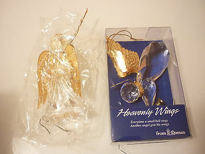 Vintage 2 Christmas Tree Ornament Angel Crystal Clear Acrylic/ Brass Tin Foil