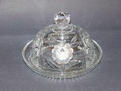 Hand cut glass Crystal round covered butter cheese dish cut roses