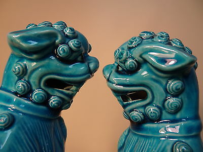 Vintage Porcelain Chinese Foo Fu Dogs Turquoise Lions Statues Hollywood Regency