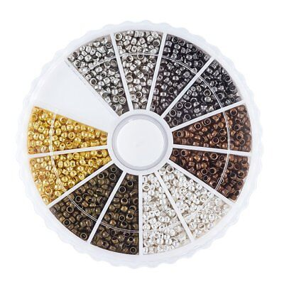 1Box 3000pcs 6 Colors Mixed Tube Crimp End Beads 2mm DIY Jewelry Making End Caps