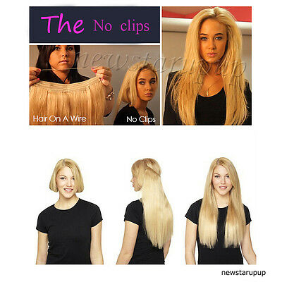 Full Head No Clips Invisible Elastic Band in 100% Human Hair Extension Straight