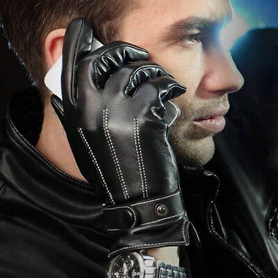 Mode Luxe Hommes Faux Cuir Hiver Chaud Cachemire Doublure Motor Cyclisme Gants