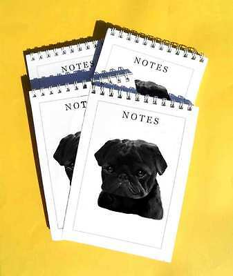 Pug Black Dogs Pack of 4, A6 Notepads Gift Set
