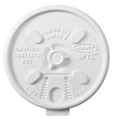DART 8FTL Disposable Lid, 8 oz., Foam, PK1000