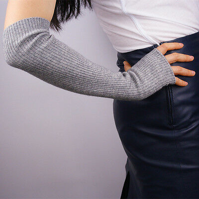 Cashmere Wool Fingerless Gloves Half Finger Arm Warmer Gray Grey Elbow Long