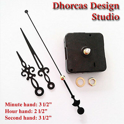 "(#07) Quartz Clock Movement kit, 1/4"" threaded quiet motor and 3.5"" Black hand"