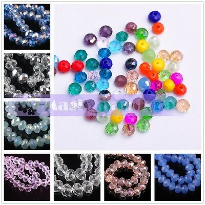 200pcs 3X2mm Rondelle Faceted Jewelry Charms Crystal Glass Loose Spacer Beads