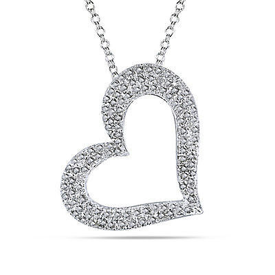Sterling Silver 1 CT Diamond TW Heart love Pendant Necklace With Chain I3