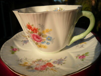 SHELLEY  GEORGIAN  FLORAL  # 2332  CUP AND SAUCER  WITH GOLD & GREEN HANDLE