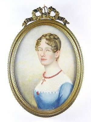 BEAUTIFUL ANTIQUE VICTORIAN ENGLISH GILT HAND PAINTED MINIATURE PORTRAIT c1850