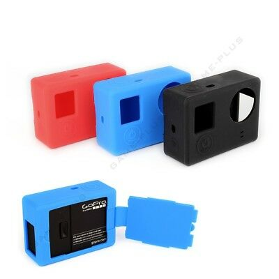 Soft Silicone Rubber Protective Case Skin w/ Flip Cover for GoPro Hero 3 3+ New