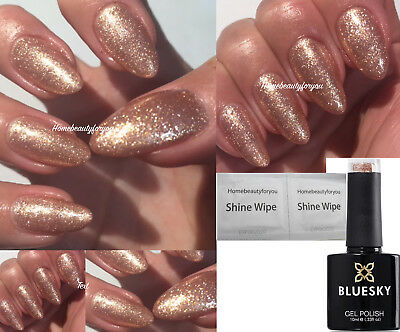Bluesky Rose Gold Sparkle Qcg15 Exclusive Nail Gel Polish Uv Led Soak Off +Wipes