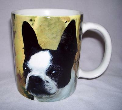 """3.75"""" tall white ceramic coffee mug BOSTON TERRIER made by Xpres in USA"""