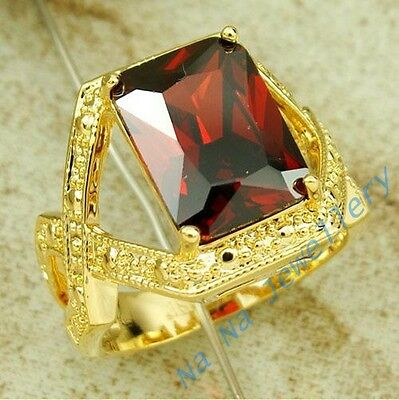 Classic Mens Jewelry Red Garnet 18K Yellow Gold Filled Huge Cross Ring Sz 9-11