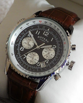 Rotary Men's GB03351 Chronospeed Chronograph Brown Leather Strap Watch - NEW