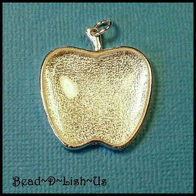 1 x APPLE 28mm Pendant necklace KIT Setting Glass Cabochon - SILVER