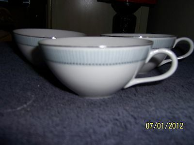Fine China Corinthia 3 Tea Cups Pattern 2217 White with Blue Striped Band
