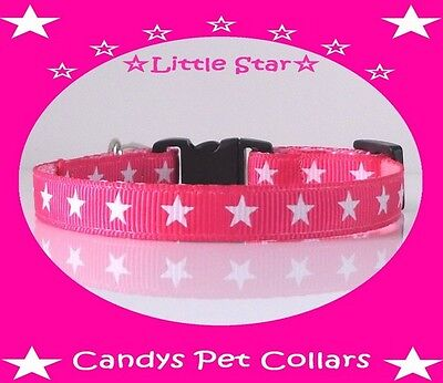 """Handmade Bright Pink with White Stars Cat-Kitten Collar 6.5""""-9"""" With Bell"""