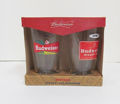 Budweiser Vintage Pint Glasses Set of 2 Retro 1947 & 1957 NIB Glass