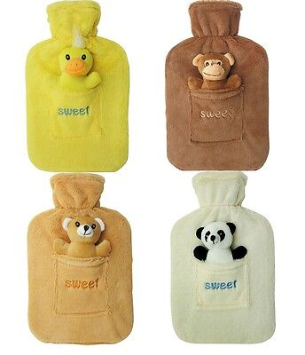 2L Large Rubber Hot Water Bottle With Warm Fleece Fur Cover New
