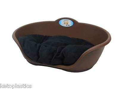 SMALL Plastic BROWN Pet Bed With BLACK Cushion Dog Cat Sleep Basket Beds