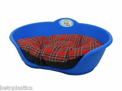 SMALL Plastic ROYAL BLUE Pet Bed With RED TARTAN Cushion Dog Cat Sleep Basket