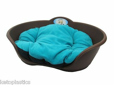 SMALL Plastic BROWN Pet Bed With AQUA TEAL GREEN Cushion Dog Cat Basket Beds