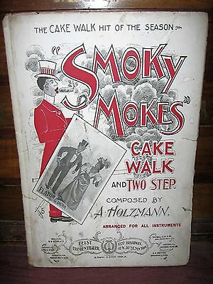 "1899 ABE HOLZANN BLACK CARICATURE SHEET MUSIC ""SMOKY MOES"" CAKE WALK-TWO STEP"