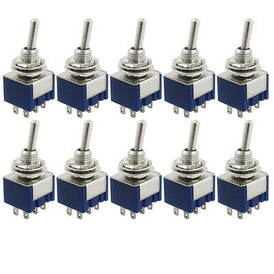 New  10 Pcs AC 125V 6A Amps ON/ON 2 Position DPDT Toggle Switch M9
