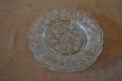 Fostoria Chintz Crystal Bread & Butter or Sherbet Plates Set of 4