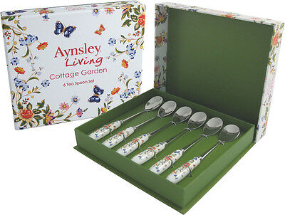 AYNSLEY COTTAGE GARDEN CUTLERY 6 TEA SPOONS - GIFT BOXED